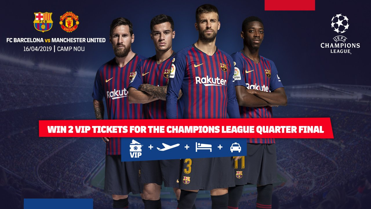 ⚽️ #MUFCBarça Win 2 VIP tickets for the Champions League quarter final. �� https://t.co/oscTLCtika https://t.co/vcWEOlKp2J