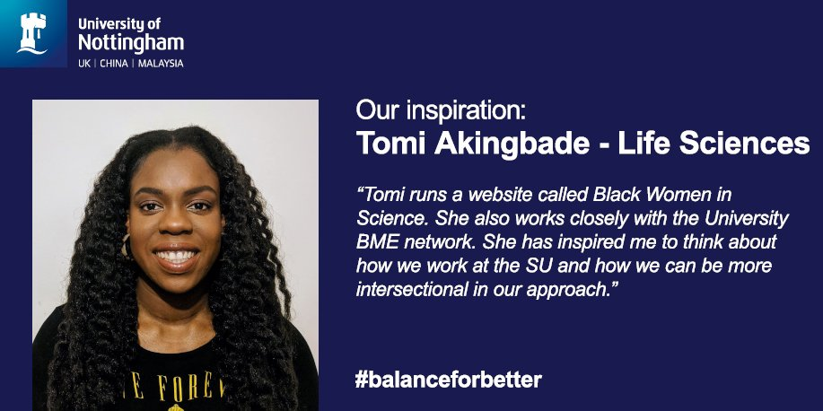 We&#39;re celebrating Inspirational Women this month for #IWD2019  and Tomi Akingbade from @UoNLifeSci is next! #balanceforbetter<br>http://pic.twitter.com/PMAAUdDYy3