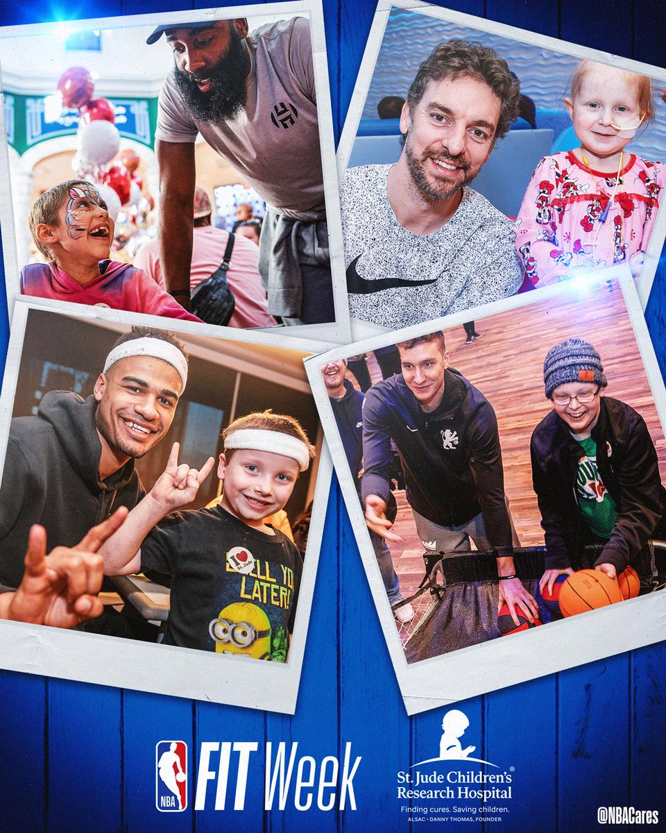 Throughout the season, several @nba teams stopped by @stjude as to take time to visit patients and their families. We are proud to partner with the hospital and groundbreaking research institution in the fight against childhood cancer. #NBAFIT