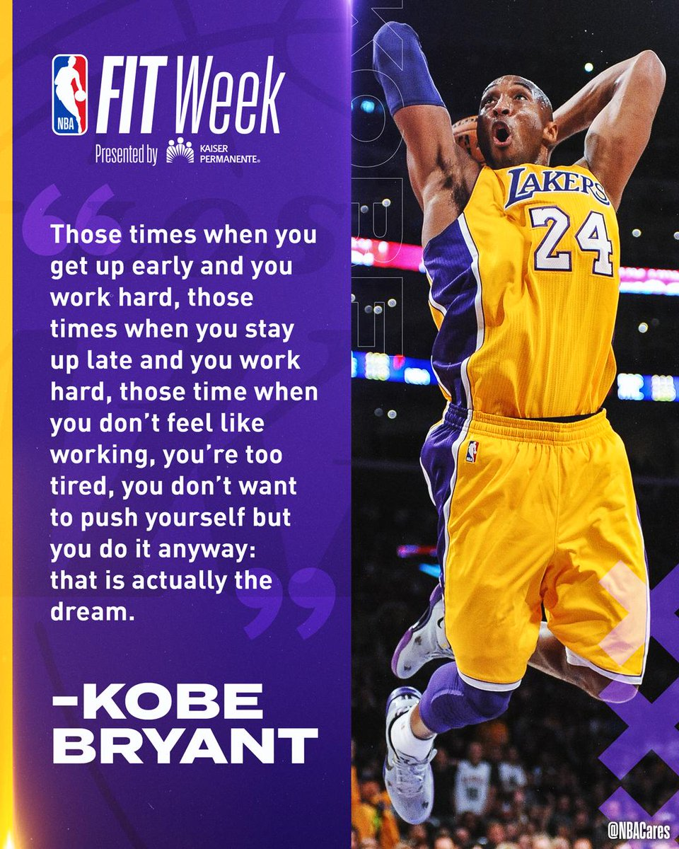 Words of wisdom from @kobebryant.  Use #NBAFIT to show how you Be FIT Like a Pro.  To learn more, visit http://fit.nba.com.