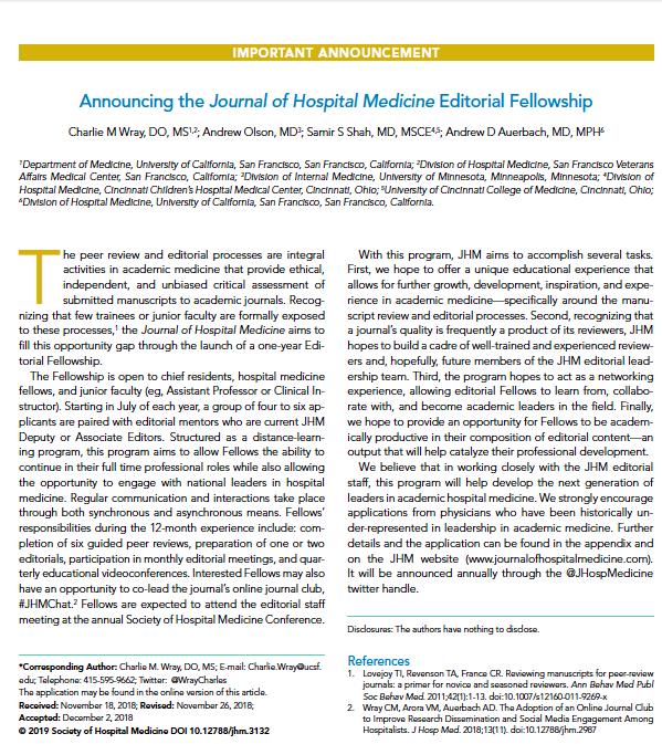 J Hospital Medicine on Twitter: