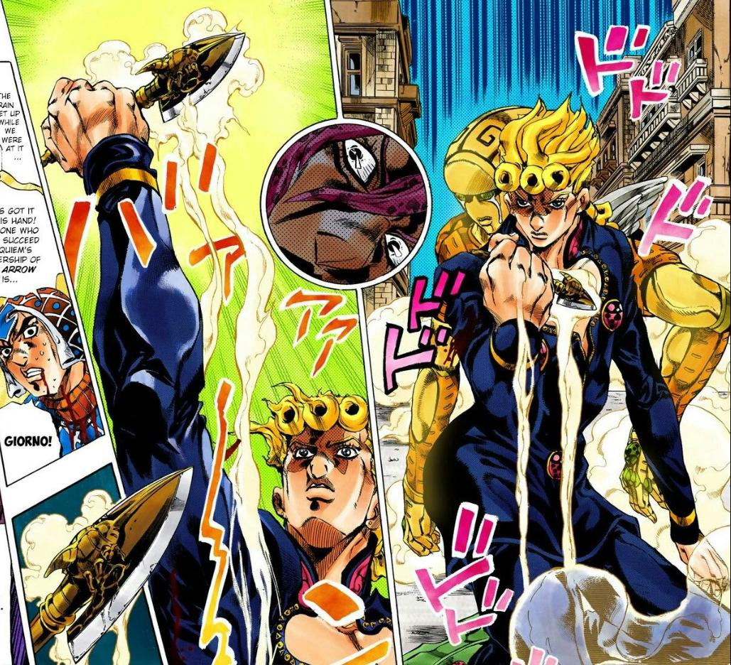 Hachura On Twitter Then There S These Glorious Shots With Giorno Piercing Himself With The Beetle Stand Arrow To Achieve Gold Experience Requiem Https T Co 0jd95uddub It is used in crafting of some final form stands: beetle stand arrow to achieve gold