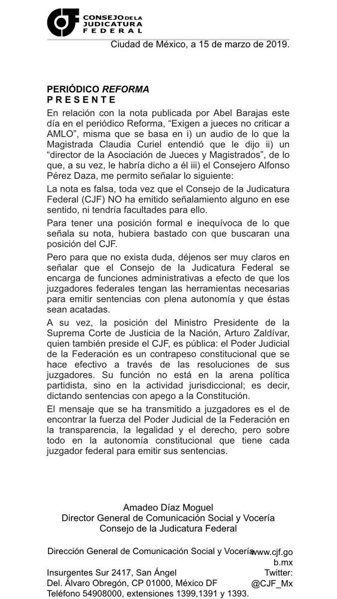 """Réplica al periódico @Reforma en relación con la nota publicada el día de hoy, """"Exigen a jueces no criticar a AMLO"""". El mensaje es claro: la nota es falsa. La fuerza del PJF está en la autonomía constitucional que tiene cada juzgador federal de emitir sus sentencias."""