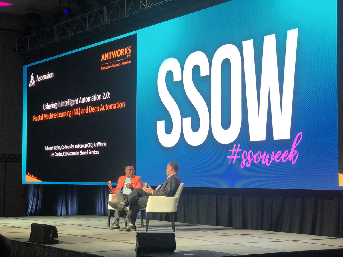 My fave panel from #SSOW happens to be (without any bias of course) from my current boss, @asheeshmehra and former boss, @rleecoulter . Two industry giants discussing intelligent automation 2.0, fractal science, and what it means to shared services. #AntWorksisFractal