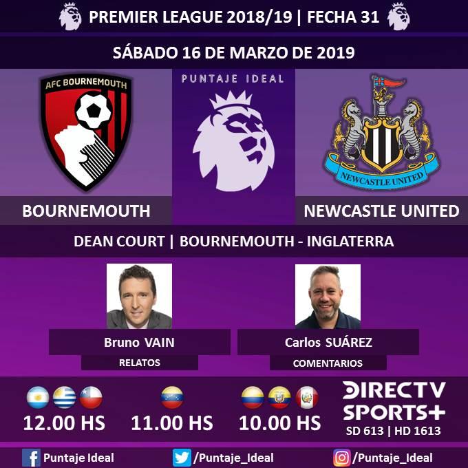 ⚽ #FútbolEnDIRECTV   #Bournemouth vs. #NewcastleUnited  🎙 Relatos: @brunovain  🎙 Comentarios: @CarlitosSuarez  📺 @DIRECTVSports + Sudamérica (613 - 1613 HD)  🖥 #DIRECTV Play y DIRECTV Go  🤳 #SoySportista - #PremierLeague 🏴 - #BOUNEW  Dale RT 🔃