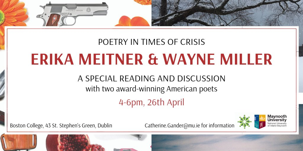 This will be marvellous. Wayne Miller and Erika Meitner are extraordinary poets @rikam99  It's a @MaynoothEnglish and @MU_AHI event, hosted by @BCDublin  Tickets are free: https://www.eventbrite.ie/e/poetry-event-erika-meitner-and-wayne-miller-tickets-58879666668?ref=eios …