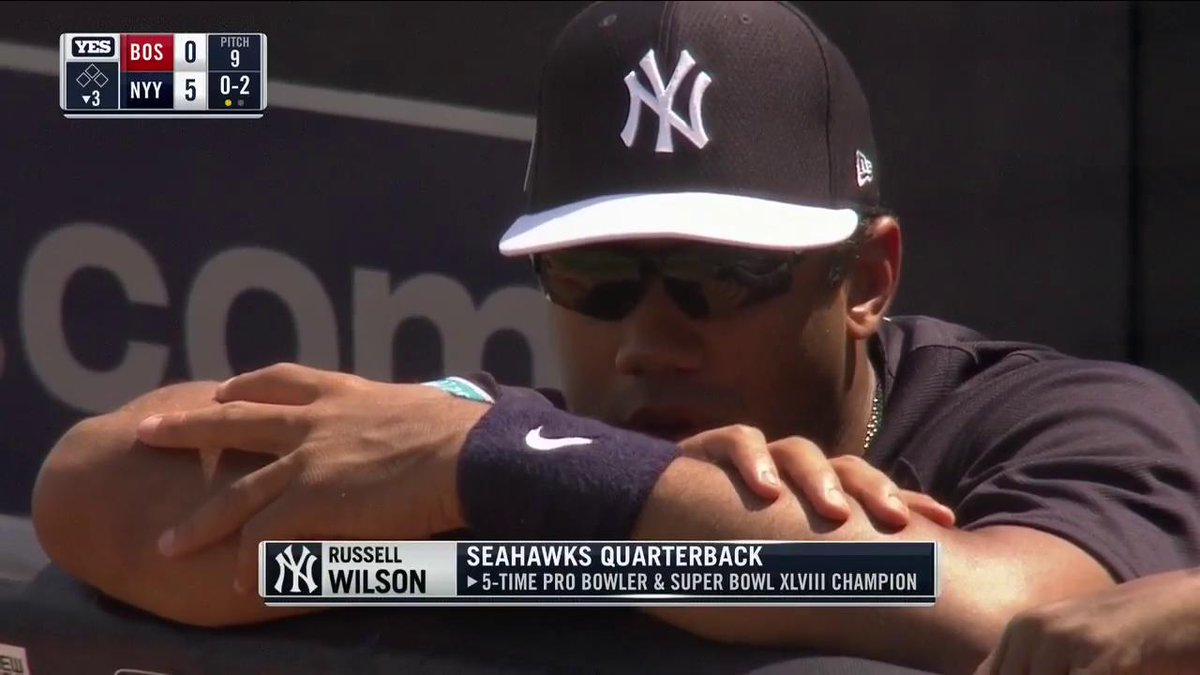 Russell Wilson at Yankees Camp