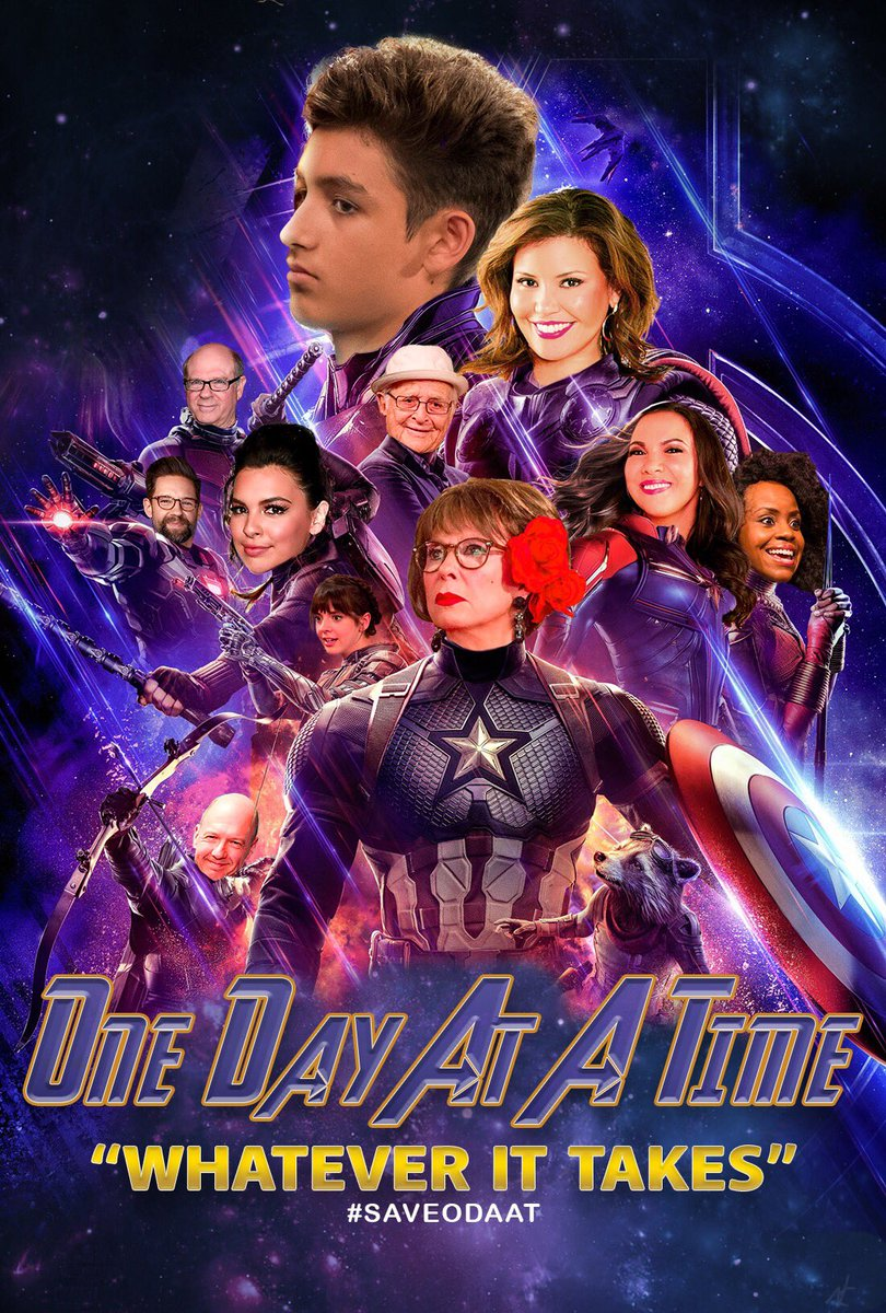 "I made something for you @everythingloria. To see everyone rally behind #ODAAT reminded me of the Avengers new line ""whatever it takes"". Fans believe in you and your show. #SaveODATT @JustinaMachado @Isabella_Gomez @TheRitaMoreno @toddgrinnell @TheNormanLear<br>http://pic.twitter.com/GKe5VusDrf"