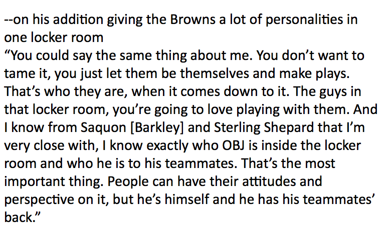 Baker Mayfield asked about OBJ&#39;s personality fitting in Clevland gives an insightful response that is sure to rile up the crusty old flapjacks who want every athlete to be a nodding drone. <br>http://pic.twitter.com/rNPUDWkgCr