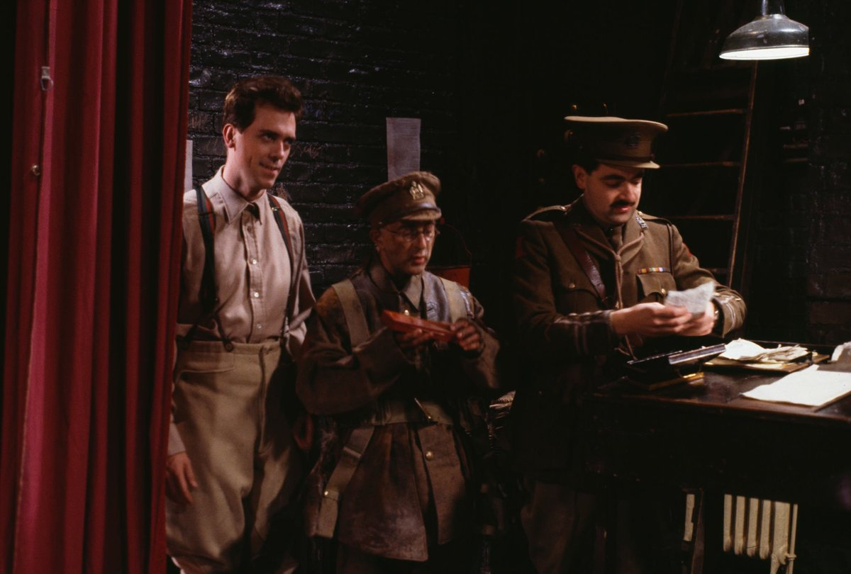 Blackadder Goes Forth  #HughLaurie, #TonyRobinson and #RowanAtkinson in a scene from episode &#39;Major Star&#39; of the BBC television sitcom &#39;Blackadder Goes Forth&#39;, September 1989. (Photo by Don Smith/Radio Times/Getty Images) <br>http://pic.twitter.com/Z3Dx7d67ar