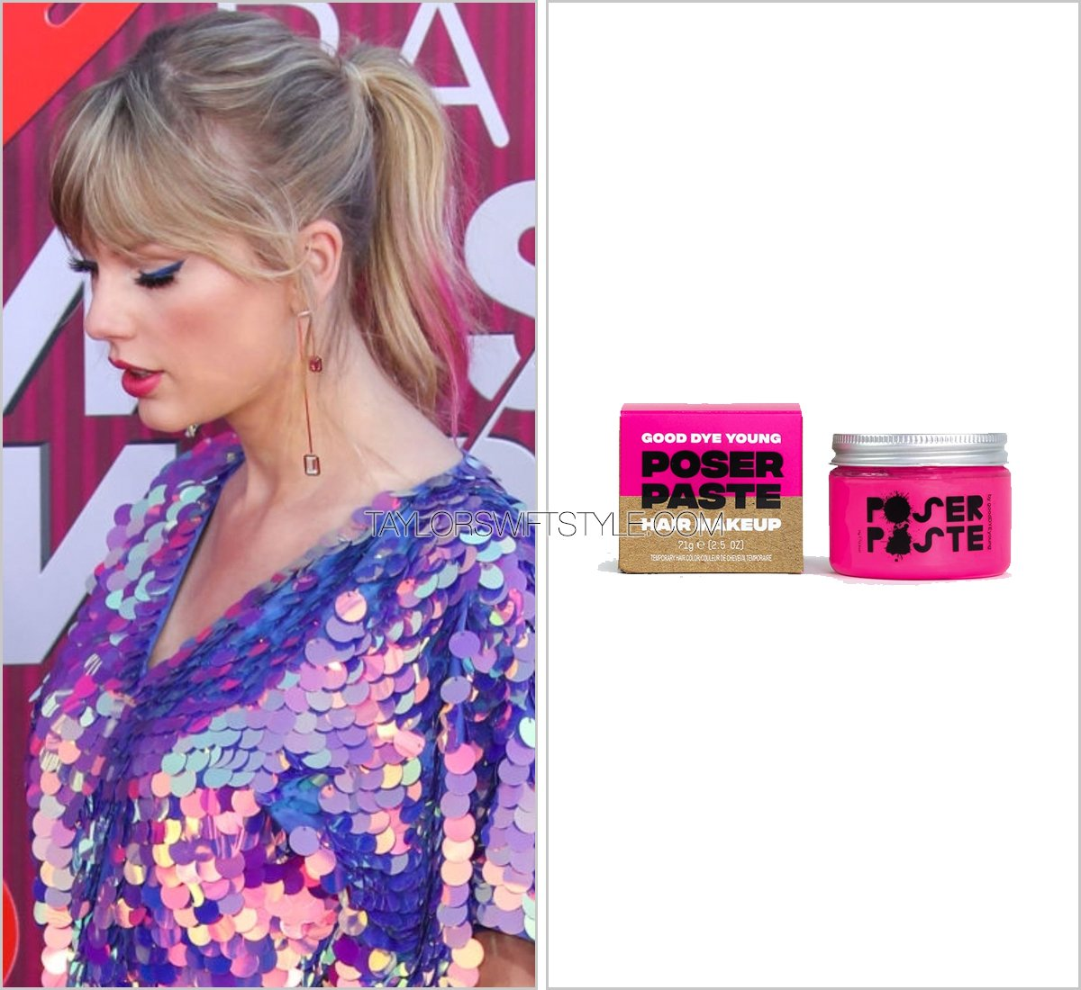 Tickled pink. @taylorswift13 uses good friend @yelyahwilliams hair brand @gooddyeyoung Poser Paste in Ex Girl ($18) to add a tinge of pink to her pony at the #iHeartAwards2019    http:// taylorswiftstyle.com/post/183478273 092 &nbsp; … <br>http://pic.twitter.com/8seXfHWFRP