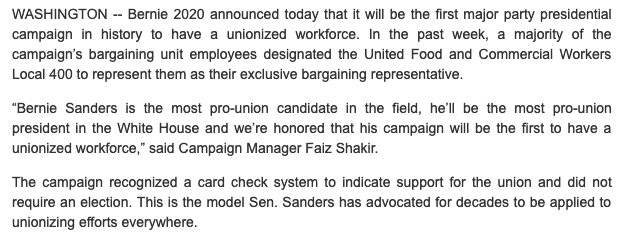 Bernie campaign announces that it is unionizing - first major party presidential campaign to have a unionized staff https://t.co/eLG8eCGYjQ