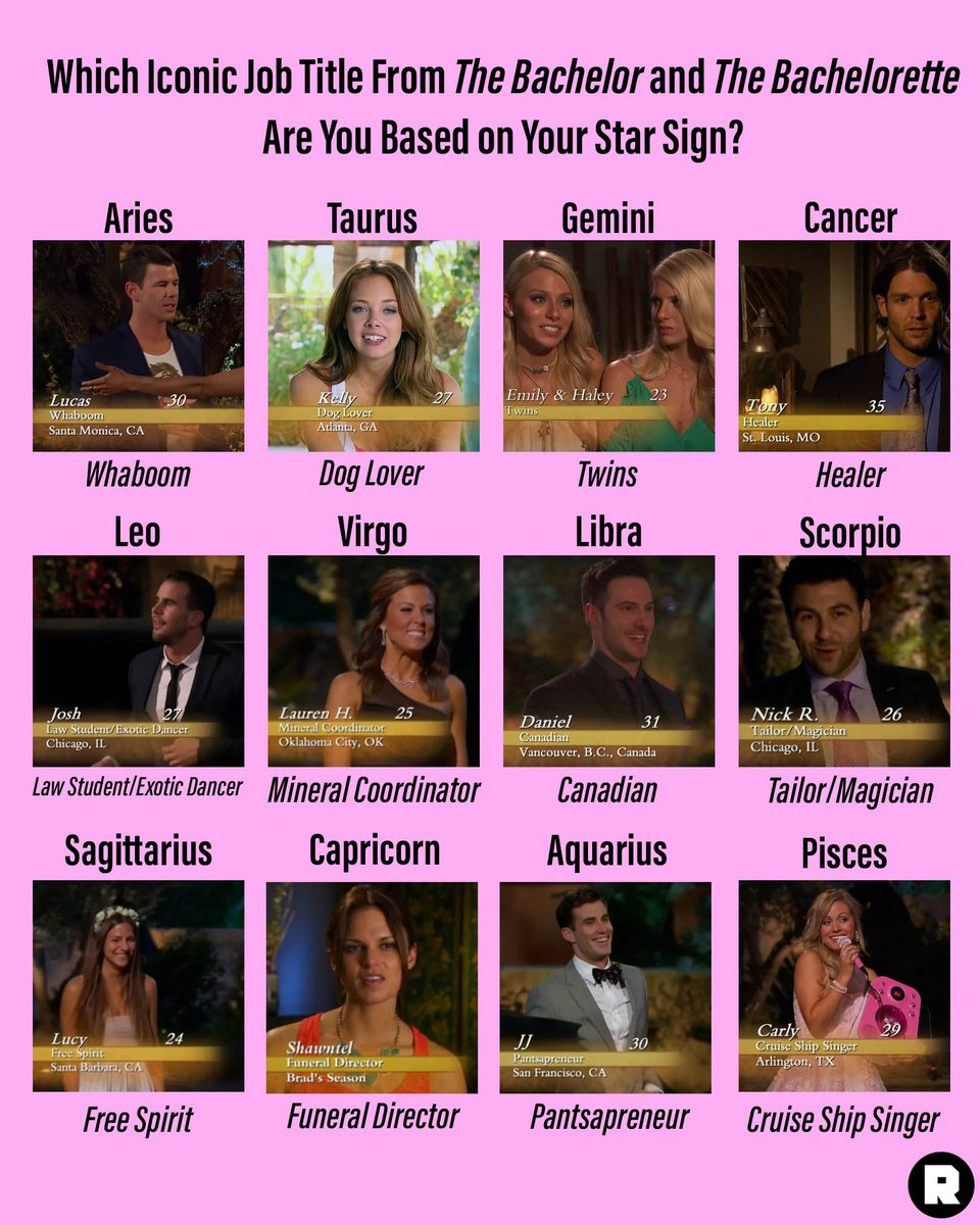 The signs as ... @BachelorABC and @BacheloretteABC job titles 💫