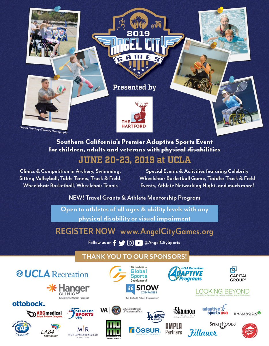 Registration is OPEN for the 2019 Angel City Games presented by The Hartford! The Angel City Games is our annual celebration of Paralympic &amp; Adaptive Sport, jam-packed with Clinics, Competitions, Special Events and Activities, June 20-23, 2019 on the iconic campus of UCLA!  <br>http://pic.twitter.com/kYaLLKC5DO