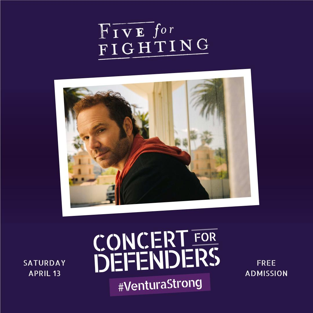 Mark your calendars! #FiveForFighting front man @johnondrasik will perform a FREE concert for the #VenturaStrong community to honor our #firstresponders on April 13! 🎸