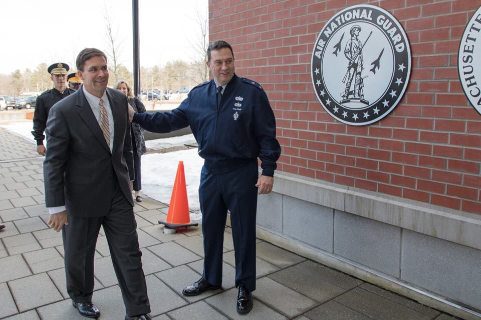 @secarmy visits the Massachusetts National Guard to communicate and connect with troops during a town hall meeting and awards ceremony.