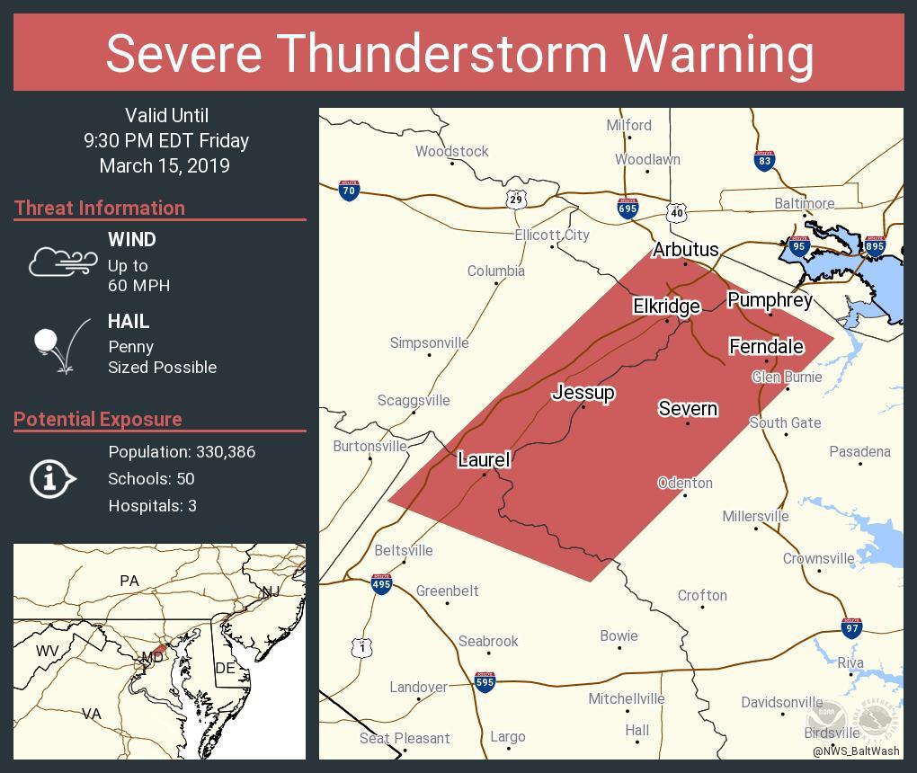 Severe Thunderstorm Warning including Severn MD, Laurel MD, Arbutus MD until 9:30 PM EDT