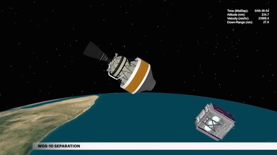 WGS 10 separation confirmed! The US Air Force's Boeing-built WGS 10 communications satellite has separated from the Delta 4 rocket's second stage. https://spaceflightnow.com/2019/03/15/delta-383-mission-status-center/…