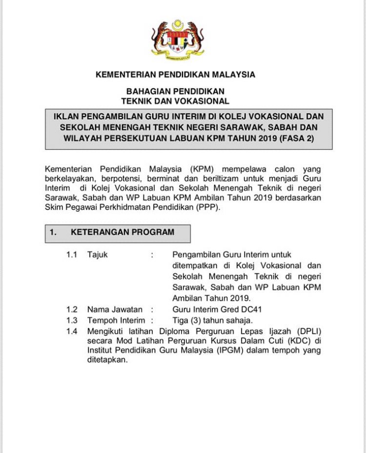 Sabah Coming Soon On Twitter Jawatan Kosong Guru Intrim Sebarkan Untuk Rezeki Yang Lain