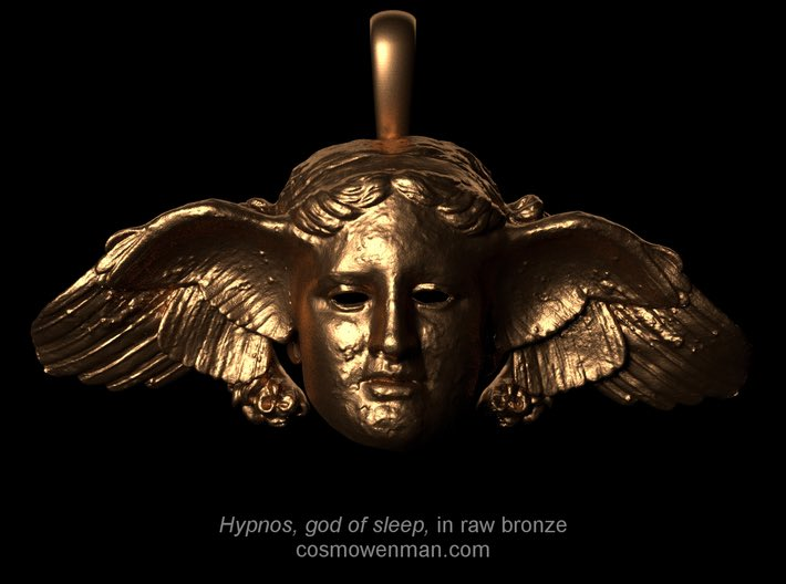 Happy #WorldSleepDay. In Greek mythology, Hypnos (Ὕπνος) is the personification of sleep. His name is the origin of the word hypnosis. His wings allowed him to move over land &amp; sea &amp; to fan the foreheads of the weary. Can help all who have apnoea too  https:// en.m.wikipedia.org/wiki/Hypnos  &nbsp;  <br>http://pic.twitter.com/mDW6NK5MVl