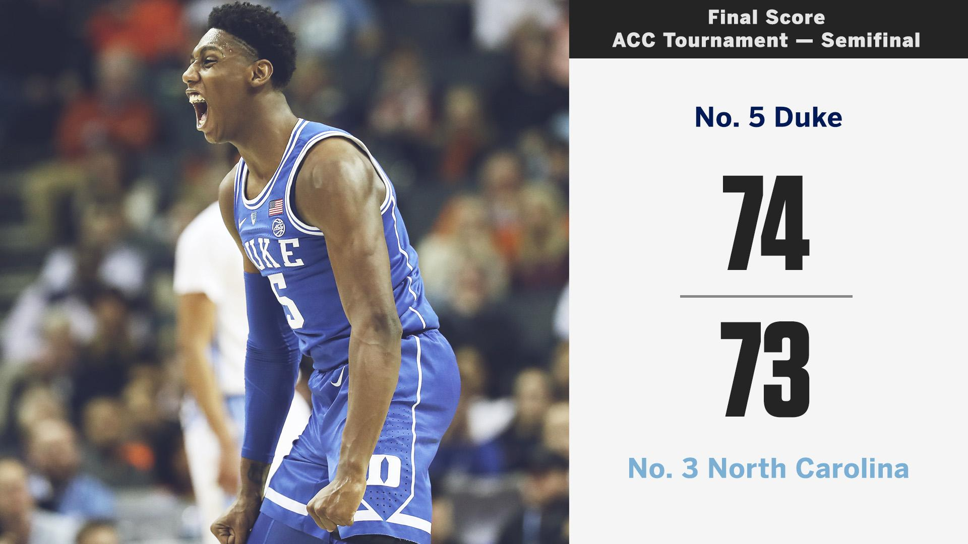 THE TRILOGY LIVED UP TO THE HYPE!  No. 5 Duke knocks off No. 3 UNC to advance to the ACC Tournament Final �� https://t.co/O8riiNS4qO