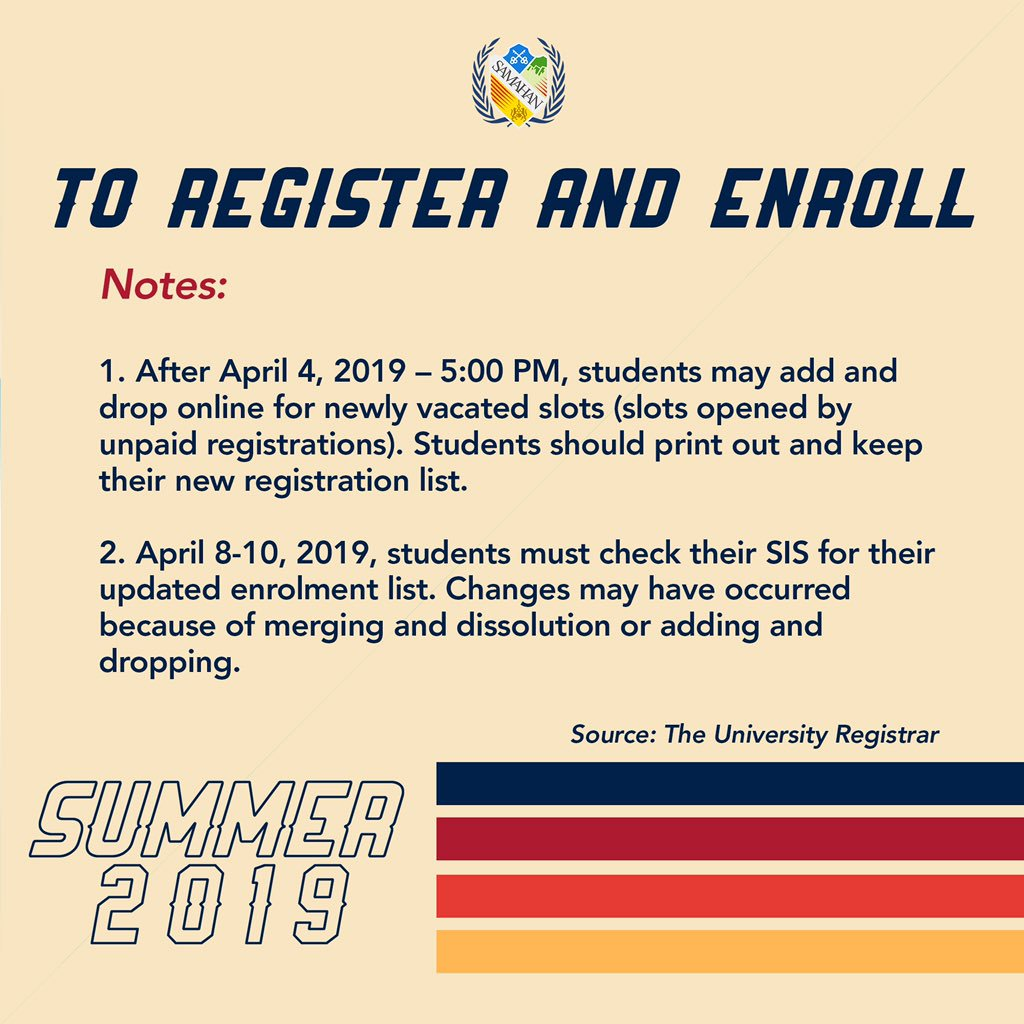 Please also take note of the following reminders: