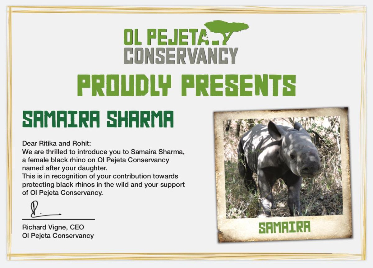 This made us so emotional! This is so special! Conservation of Rhinos is a cause so close to our hearts & Sudan meant so much to us. Thank you @OlPejeta for this honour. Can't believe our two month old has a Rhino named after her in Africa, unbelievably special.