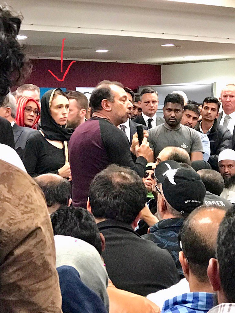 """PM of #NewZealand #JacindaArdern visits the friends and families of the #ChristChurch terrorist attack the day after. Look at the humility and concern. """"Immigrants who chose NZ as their home are us.the perpetrator who has committed this violence against us is not"""" #Respect"""