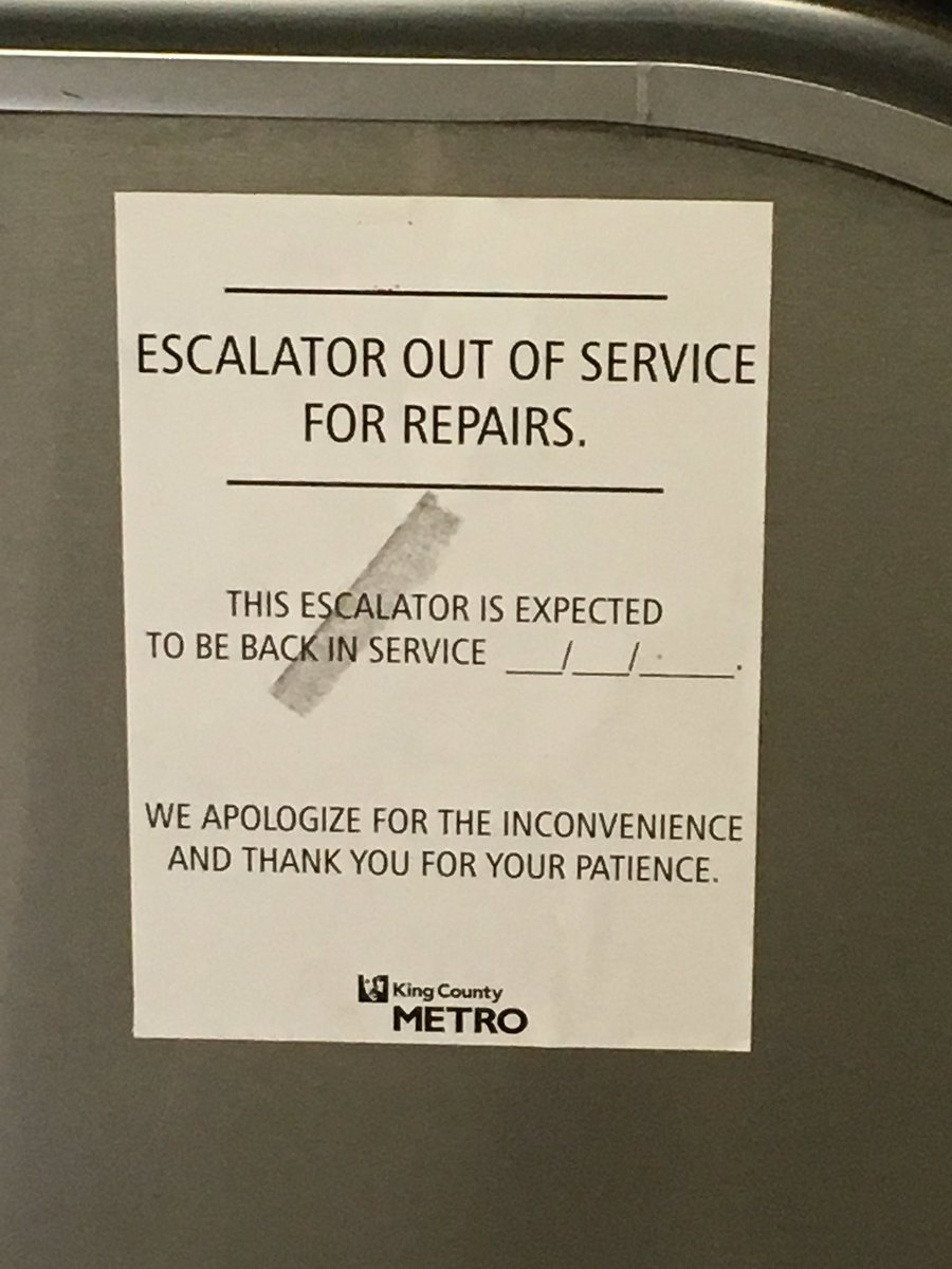 @kcmetrobus Why don't you even have an ETA? Why are westlake escalators always like this?