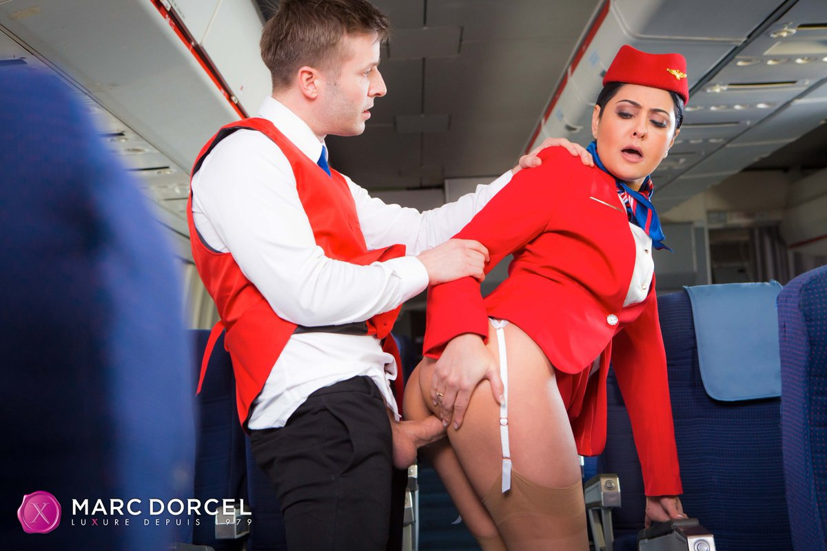 Asa akira and her hostess friends penetrate on flight