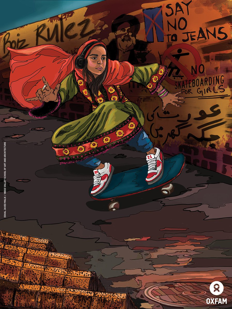 Artwork by Eshal Javed Malik from Indus Valley School of Art and Architecture (IVSAA) - 1st Prize Winner from Oxfam's #FreefromFear Digital Illustration Competition, envisioning a world where women and girls live free from the fear of harassment and violence. #SayEnough #IWD2019  <br>http://pic.twitter.com/whc3Klivzc
