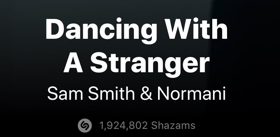 Daily Shazam Chart  #DancingWithAStranger    US — #3 (=)  UK — #6(+1)  Global  — #2(+3) *new peak*   TOP 2 ON GLOBAL SHAZAM    Please remember to SHAZAM! This is an important factor considered for Radio  Total: 1,924,802 Shazams (+41,496) <br>http://pic.twitter.com/3qfXGdWwgf