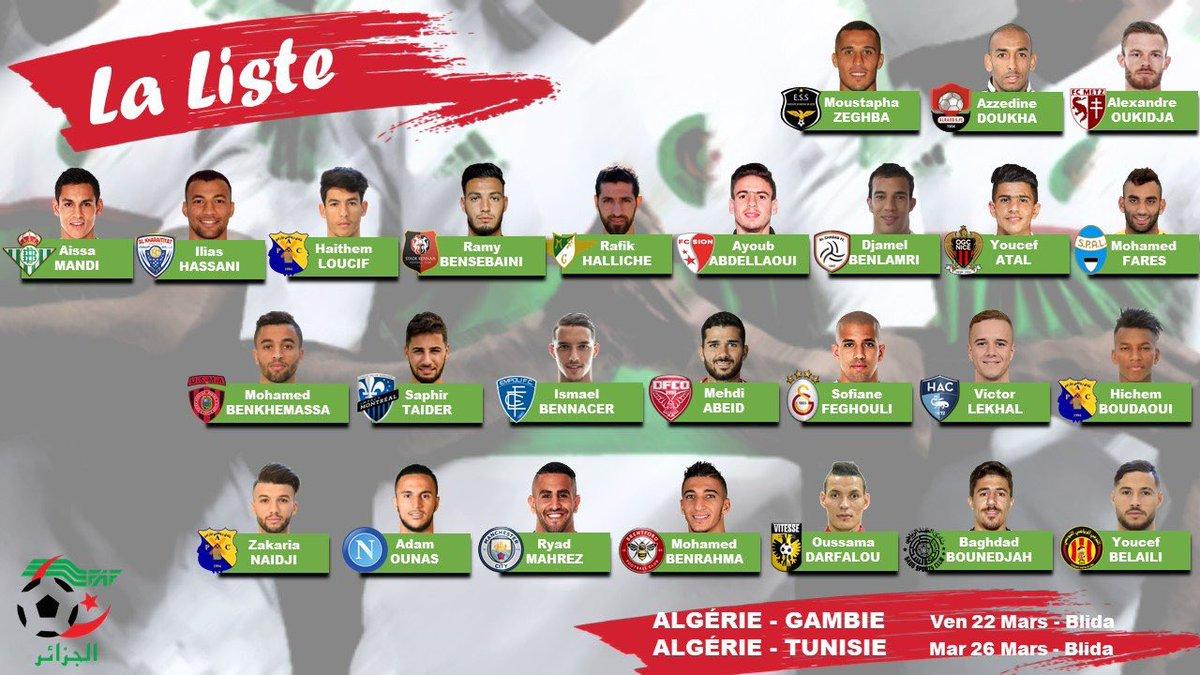 جمال بلماضي يعلن قائمة 26 لاعبا تحسبا لمباراتي غامبيا وتونس 25