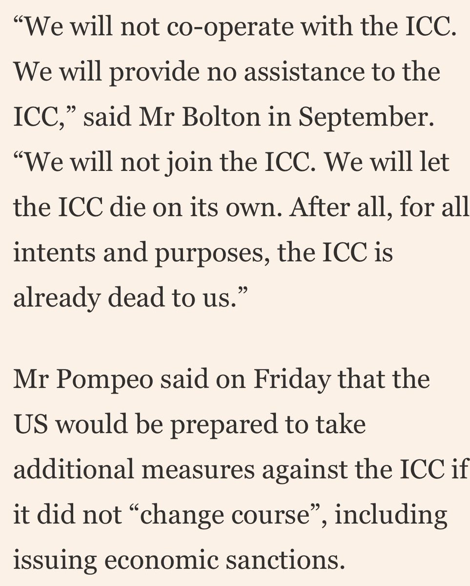 Might is right, not much covered in media: International Criminal Court (ICC) launched probe into US military's war crimes in Afghanistan. U.S responded by revoking US visas of ICC investigators and publicly wishing death for this world body of 120 members, So much for justice!
