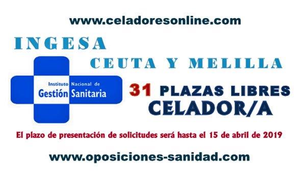 Celadores/as del INGESA en plazo de presentación de instancias hasta el 12-Abril-2019... D1xsE9OWkAAS0YS