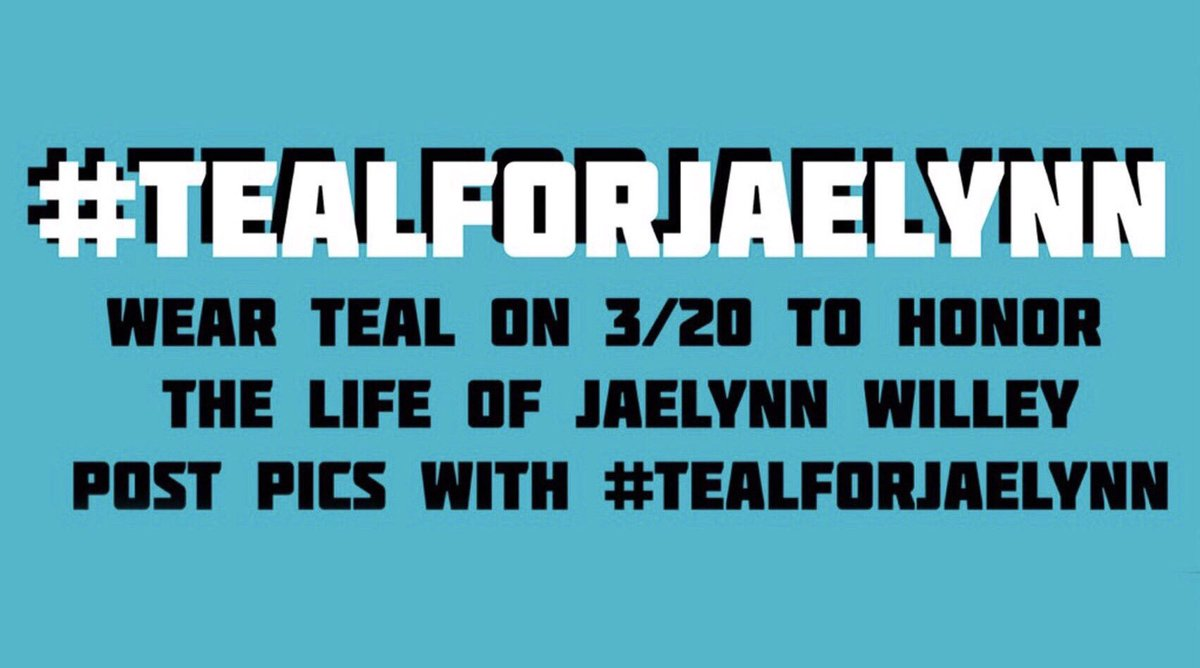 On 3/20/18, Jaelynn Willey was shot and killed at Great Mills High School. One year later on 3/20/19, we are going to wear #TealForJaelynn. Please share this and wear teal on Wednesday 💙