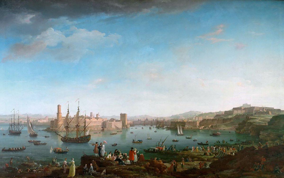 Views of French port cities: Marseille-Bordeaux-La Rochelle-Toulon by French landscape painter Claude-Joseph Vernet painted between 1754-1765 as part of a series of French sea ports commissioned by King Louis XV. <br>http://pic.twitter.com/2x8TgmPUyZ