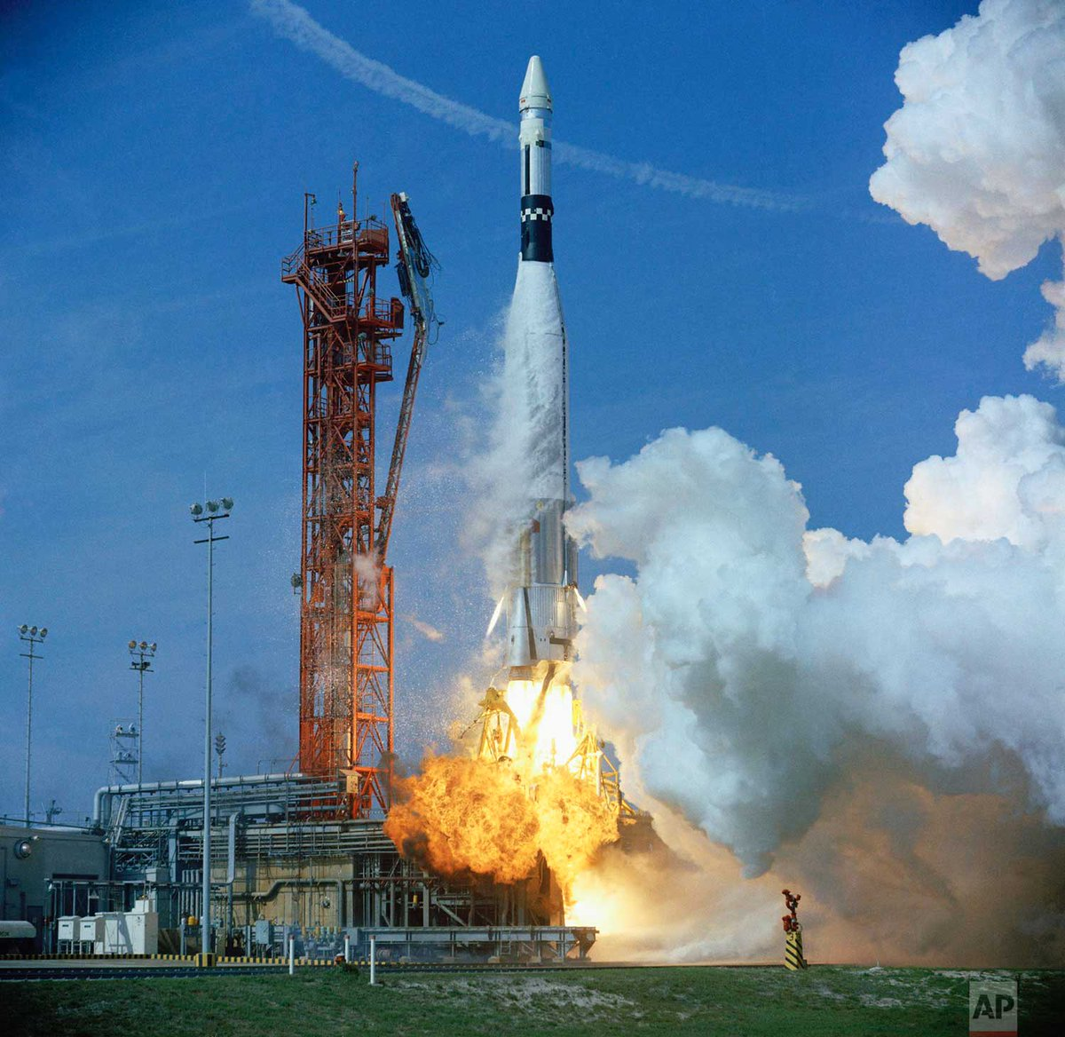 b59740b9d8 Blast off of spacecraft with astronauts David Scott and Neil Armstrong  aboard