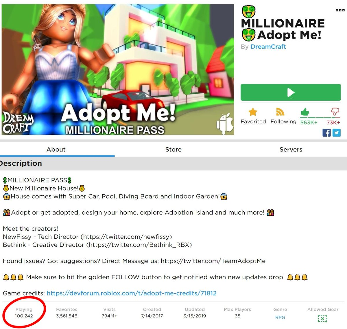 List Of Codes For Roblox Adopt Me 2019 Bethink On Twitter Whoop Whoop Adopt Me Just Hit 100 000 Concurrent Players For The First Time Newfissy Roblox Robloxdev