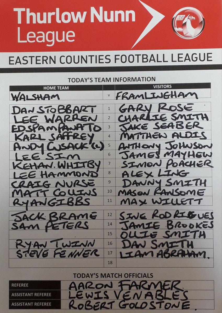 Teams for today Walsham v @TheCastlemen