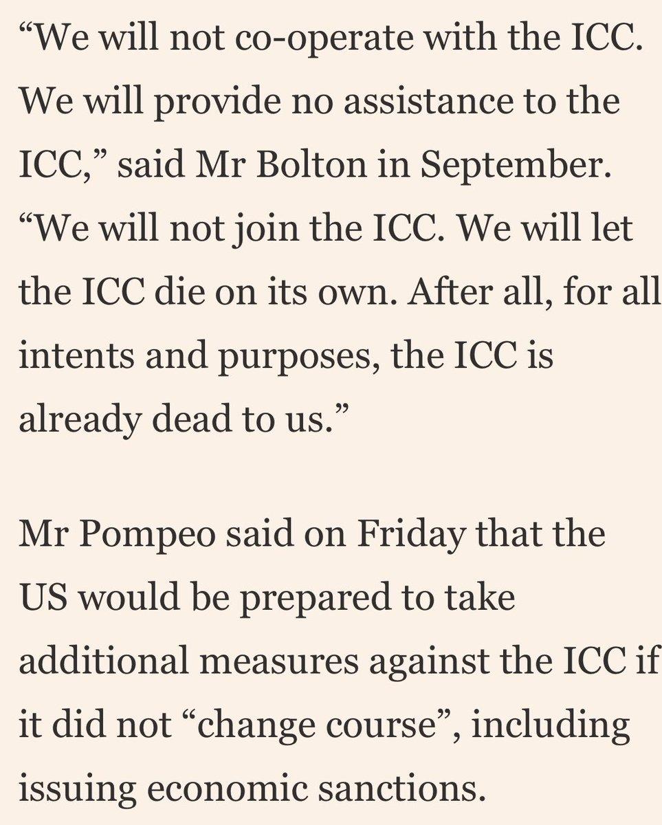 امریکہ کی لاٹھی امریکہ کی بھینس: عالمی عدالت برائے جرائم (ICC) امریکی فوج کے افغانستان میں جنگی جرائم کی تحقیقات کرے گا، امریکہ نے ICC ممبران کے امریکی ویزے منسوخ کر کے اعلان کیا ہے کہ وہ اب عالمی عدالت کی موت چاہتا ہے، اگر معاملہ پاکستان آرمی کا ہوتا تو پھر امریکہ کے تیور دیکھتے