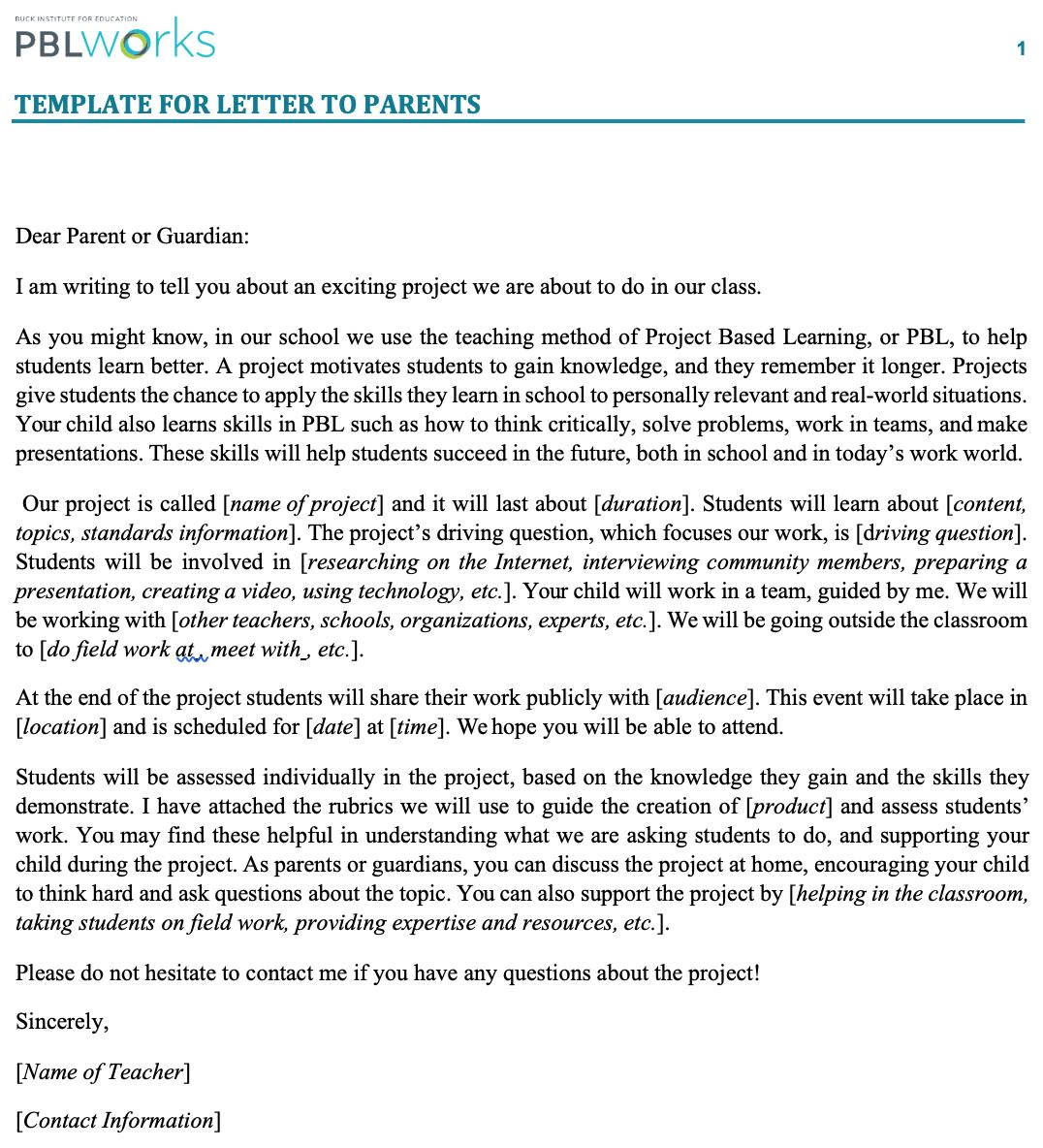 Want to include parents of students on your Project Based Learning journey? Download our FREE Letter to Parents Template! https://bit.ly/2UDf33L #PBL #HQPBL #PBLparents #edu #PBLchat #edchat