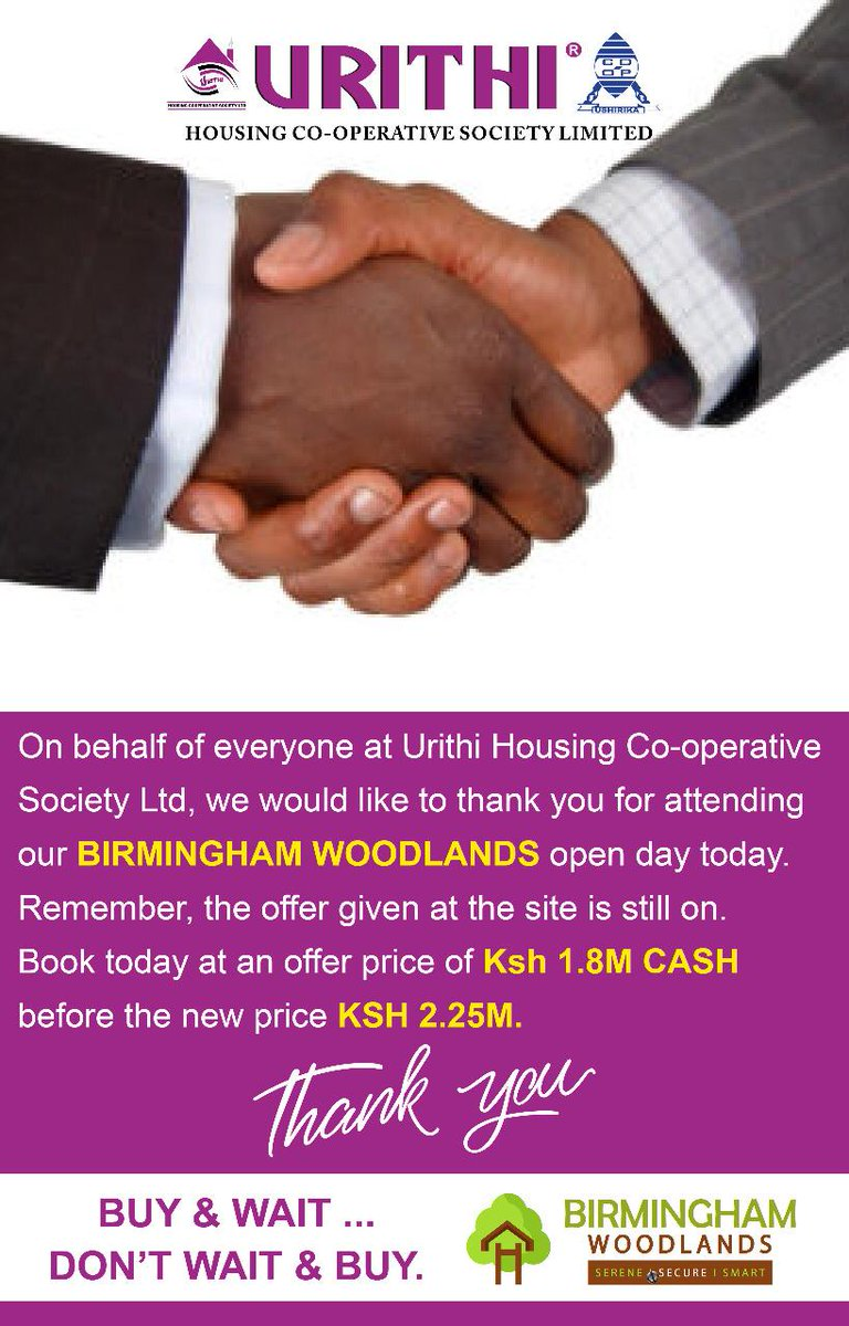 Thank you for attending #UrithiThikaOpenDay at Birmingham Woodlands City - Thika. We are humbled to serve you, to all our loyal members in Kenya &amp; Diaspora we will not let you down. Dream it. Own it. Live it. <br>http://pic.twitter.com/9lzE79b8jH