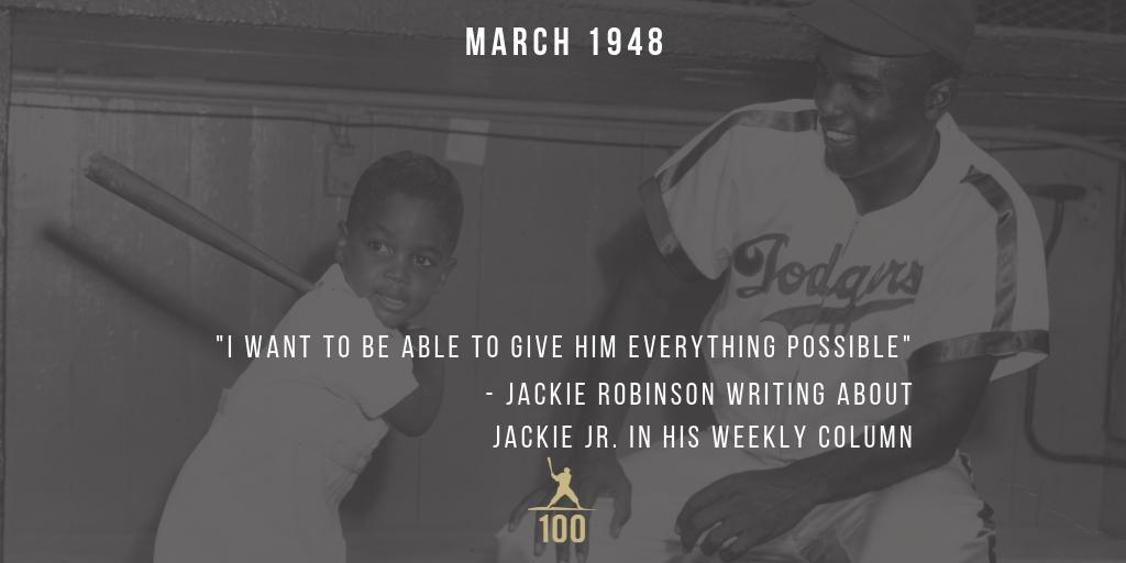 "March 1948 | Jackie Robinson devotes his column in The Pittsburgh Courier to Jackie Jr. stating ""I want him to grow up in a good home, nice clothes and some of the other things the average American kid enjoys."" #JackieRobinson #JR100"