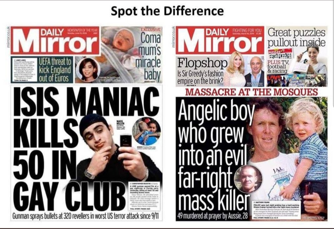 White privilege is when you can go into a mosque and murder 49 innocent people praying and MSM still refer to you as an &#39; angelic boy &#39;  #NewZealandTerroristAttack <br>http://pic.twitter.com/mpTTA3BlCz
