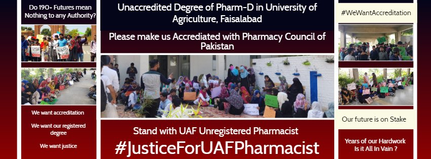 It is my humble request to HE Mr. @ImranKhanPTI   to pay attention on the future of Pharm-D students of UAF. Because of the incapable and lack of concern of administration of a renowned university , Our FUTURE is on stake.  #WeWantJustice <br>http://pic.twitter.com/fxlSPMgO0K