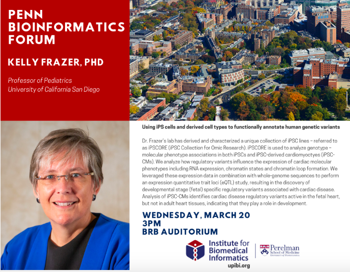 test Twitter Media - This month's Penn Bioinformatics Forum hosts Dr. Kelly Fraser @UPennIBI. Join us on March 20th at 3pm in BRB auditorium https://t.co/pwICxx7H43
