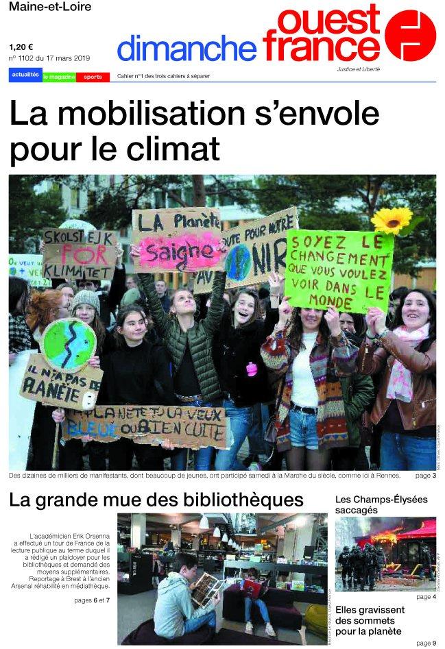 Et voici la Une de Dimanche Ouest France du 17 mars !