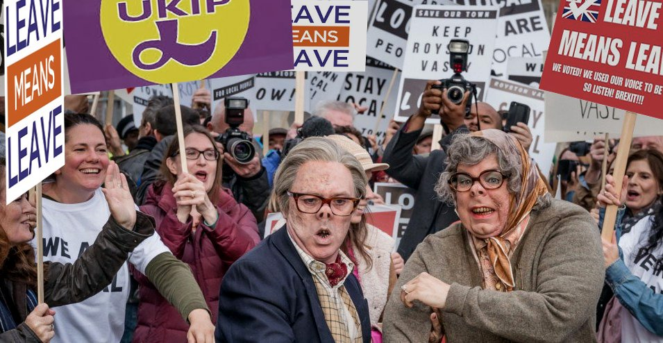 Nigel Farage&#39;s March of the Misinformed arrives at a small town in the north of England...@Scientists4EU @mikegalsworthy #MarchforLeave #brexit #LeaveMeansLeave <br>http://pic.twitter.com/02n88vvdNx