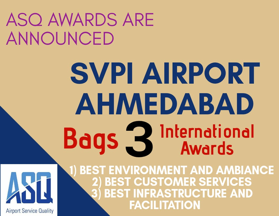 #SVPI #Airport, #Ahmedabad has earned 3 International Airport Service Quality(#ASQ) awards from from Airport Council International (#ACI) for the Year 2018.
